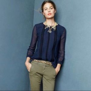 J. Crew Navy Swiss Dot & Lace Sheer Blouse